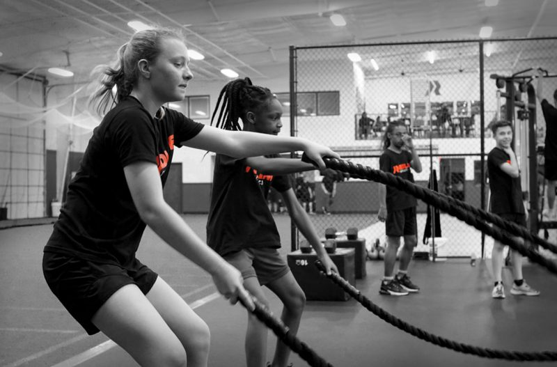 young girls training with ropes