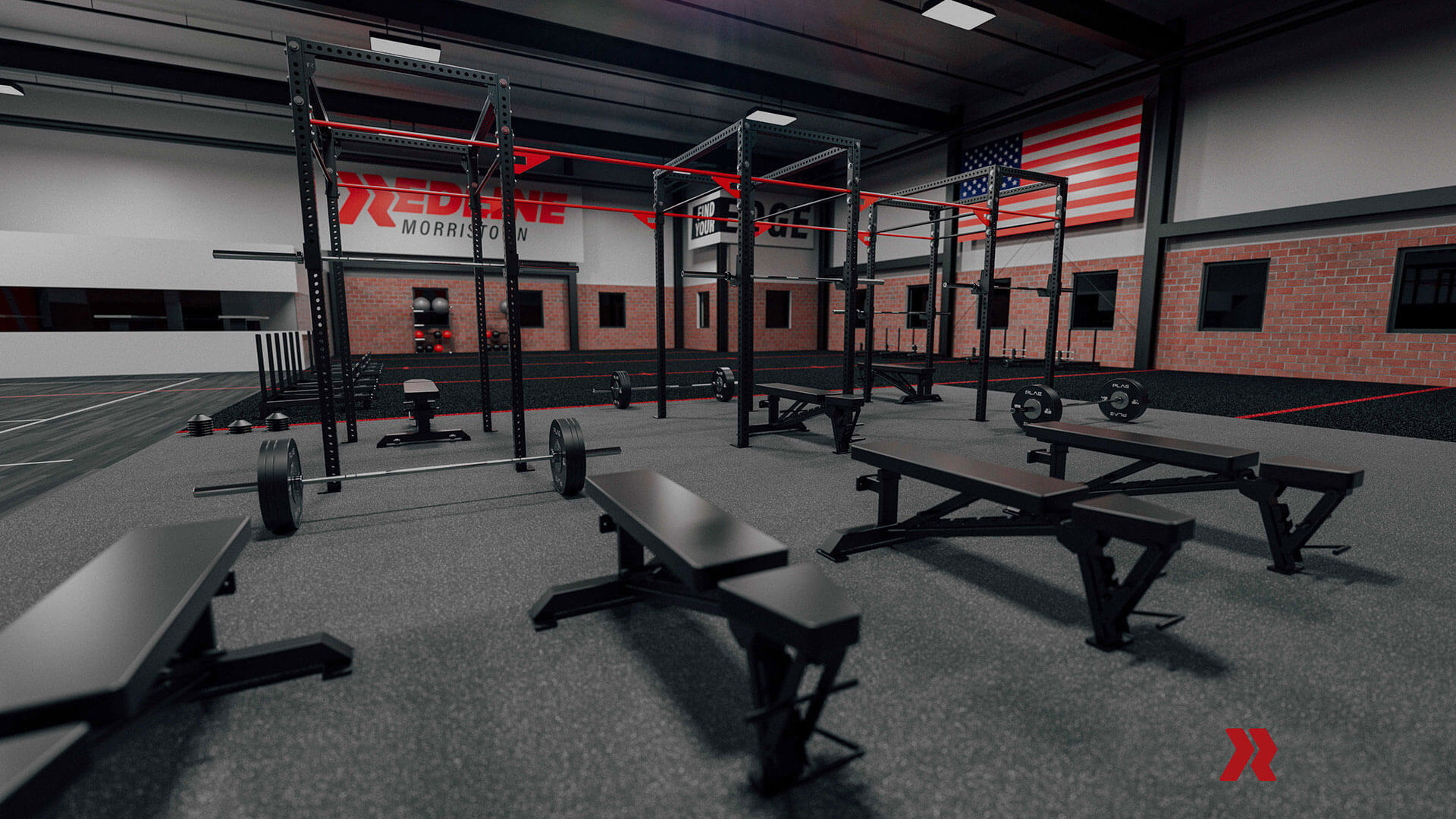 Redline weight benches and squat racks.