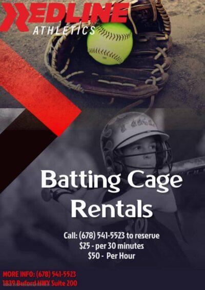 Batting Cage Rentals, $25 per 30 minutes, $50 per hour
